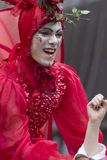 Bucharest, Romania - May 29, 2014: The Red Hearts show of the performers from the Mademoiselle Paillette Company, France. During the B-Fit International Street Stock Image