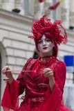 Bucharest, Romania - May 29, 2014: The Red Hearts show of the performers from the Mademoiselle Paillette Company, France. During the B-Fit International Street Royalty Free Stock Photo