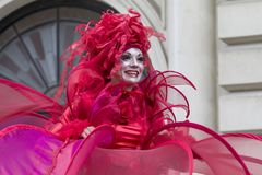Bucharest, Romania - May 29, 2014: The Red Hearts show of the performers from the Mademoiselle Paillette Company, France. During the B-Fit International Street Stock Images
