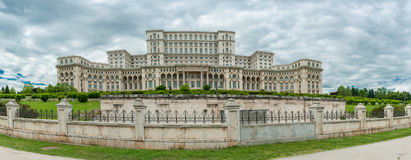 BUCHAREST, ROMANIA - MAY 30, 2017: Romania Parliament. One of the largest building in the world. stock image
