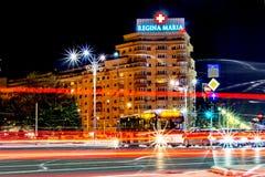 Bucharest, Romania - 01.04.2017, night trails, Regina Maria. stock images