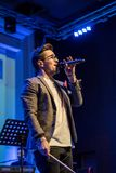 Male singer live concert stock images