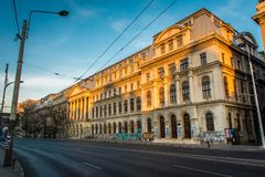 Bucharest, Romania, November 2018: Bucharest University is covered in graffiti royalty free stock images