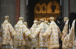 Consecration ceremony of Romania's National Cathedral. Bucharest, Romania - November 25, 2018 - High priests during the consecration ceremony of Romania stock images