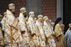 Consecration ceremony of Romania's National Cathedral. Bucharest, Romania - November 25, 2018 - High priests during the consecration ceremony of Romania royalty free stock photo