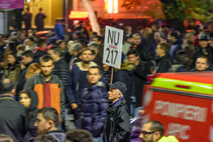 Bucharest, Romania - November 04, 2015: Some 30,000 people gather in the streets of the capital Bucharest on the evening Stock Photography