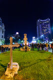 Bucharest, Romania - November 04, 2015: Some 30,000 people gather in the streets of the capital Bucharest on the evening Stock Photo