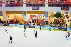 People ice rink. Shopping mall Royalty Free Stock Image