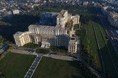 Bucharest, Romania, October 9, 2016: Aerial view of the Palace of the Parliament in Bucharest. Romania stock image