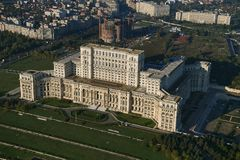 Bucharest, Romania, October 9, 2016: Aerial view of the Palace of the Parliament in Bucharest. Romania stock photo