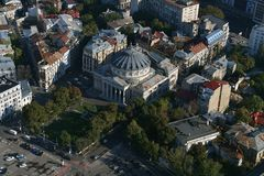Bucharest, Romania, October 9, 2016: Aerial view of Romanian Athenaeum royalty free stock photography