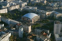 Bucharest, Romania, October 9, 2016: Aerial view of Sala Palatului which is a conference centre and concert hall stock image