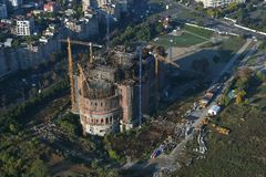 Bucharest, Romania, October 9, 2016: The building of the largest cathedral in Bucharest. Romania stock image