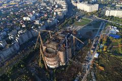 Bucharest, Romania, October 9, 2016: The building of the largest cathedral in Bucharest. Romania stock photo