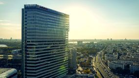 Corporate office building aerial timelapse stock footage