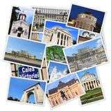 Bucharest, Romania. Bucharest postcard collage - Romania capital city landmark collection stock photos