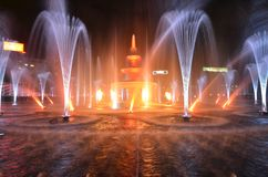 Large fountain installation in the center of Bucharest. Bucharest, Romania - September 30, 2018: Modernized fountain installation in Union Square or Piata Unirii stock photography