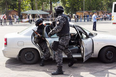 BUCHAREST, ROMANIA - SEPTEMBER 2013, prison police special forces action Royalty Free Stock Photography