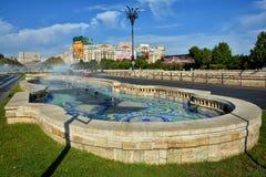 Union Square Fountain and Parliament Palace Casa Poporului stock photos