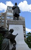 Bucharest, Romania: Statue of Lascar Catargiu. Conservative politician in front of Communist apartment block royalty free stock image