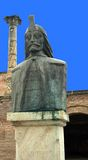 Bucharest, Romania: Statue of Vlad Tepes (Dracula) in Old Town. The bust of Vlad Tepes (Vlad the Impaler, Dracula) in the remains of the Curtea Veche. the Old stock photo