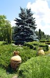 Bucharest, Romania: Two Greek Urns in Herastrau Park. Two Greek urns set amidst the gardens in Herastrau park royalty free stock image