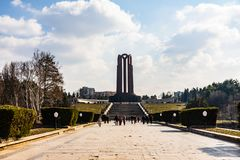 Bucharest, Romania - 2019. The unknown soldier mausoleum located in Carol Park stock photo