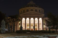Bucharest, Romanian Atheneum, an important concert hall and a landmark for Bucharest, in the night royalty free stock image