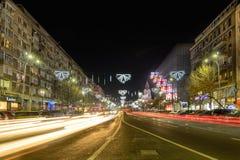 Bucharest Rumänien - December 25: Magheru Bvd på December 25, 20 Royaltyfri Bild