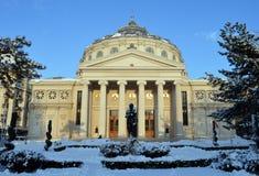 Bucharest Rumänien: Den rumänska Athenaeumkonserthallen Fotografering för Bildbyråer