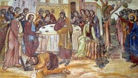 Bucharest Rumänien: Detalj från frescoes utanför den Antim kloster royaltyfri fotografi