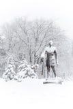Bucharest Rumänien - Februari 17: Charles de Gaulle Statue på Fe Arkivbild