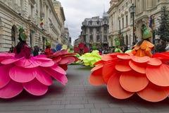 Bucharest Rumänien - Maj 30, 2014: Kvinnliga dansare i exotiska färgrika karnevaldräkter framlägger den jätte- blommashowen Royaltyfri Fotografi