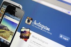 Instagram website Royaltyfri Bild