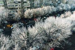 Bucharest Rumänien med frost Arkivfoton