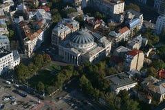 Bucharest Rumänien, Oktober 9, 2016: Flyg- sikt av den rumänska athenaeumen royaltyfri fotografi