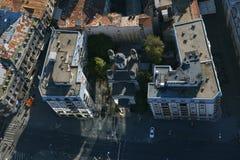 Bucharest Rumänien, Oktober 9, 2016: Flyg- sikt av den Zlatari kyrkan arkivfoto