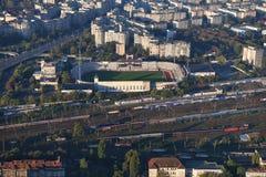 Bucharest Rumänien, Oktober 9, 2016: Flyg- sikt av snabb Bucharest stadion arkivbild
