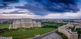 Bucharest Rumänien panorama royaltyfri bild