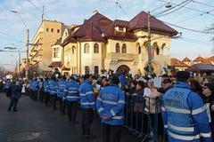 Bucharest Rumänien - protest mot presidenten Klaus Iohannis Royaltyfri Foto