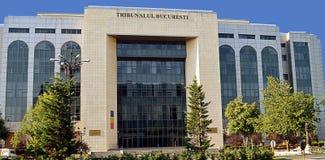 Bucharest Rumänien: Stadsdomstolsbyggnad Arkivbild