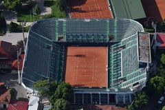 Bucharest, Rumunia, Maj 15, 2016: Widok z lotu ptaka Arenele BNR kompleks tenis w Bucharest zdjęcia stock