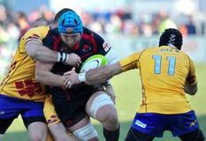 BUCHAREST RUMUNIA, MARZEC, - 21: Niezidentyfikowani rugby gracze podczas Rumunia vs Gruzja w Europejskiej naród filiżance obraz royalty free