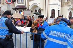 Bucharest, Rumunia - protest przeciw prezydentowi Klaus Iohannis Obrazy Stock