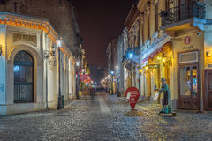 Bucharest's beatiful lit streets in downtown during night-time Royalty Free Stock Photo