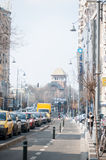 Bucharest samochodowy ruch drogowy i rowerowi pasy ruchu Zdjęcia Royalty Free