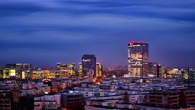 Bucharest skyline office buildings , aerial view. Bucharest skyline office buldings , aerial view , panoramic view ,city lights , night-scene, blue hour , after stock photo