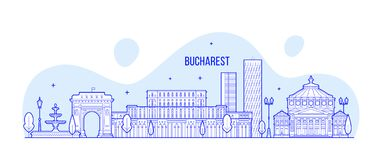 Bucharest skyline, Romania city buildings vector. Bucharest skyline, Romania. This illustration represents the city with its most notable buildings. Vector is Royalty Free Stock Photos
