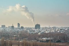 Bucharest Skyline. Skyline of Bucharest with smoke Royalty Free Stock Images