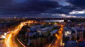 Bucharest skyline after sunset with aerial view royalty free stock images